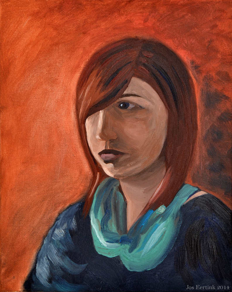 Oil paint portrait in warm colors of Imke on BrimBrom.com